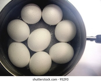 Pan of boiling eggs