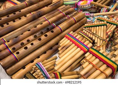 pan flute closeup in the indigenous artisan market in Otavalo Ecuador
