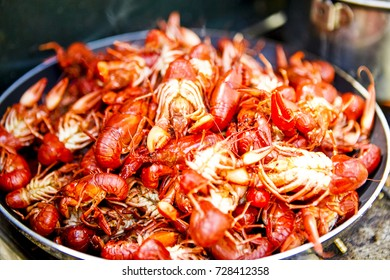 Pan of freshly cooked crawdads, freshwater lobster, crayfish or crawfish ready for eating