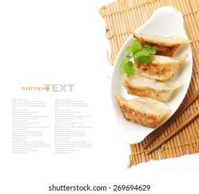 Pan Fried Dumpling isolated on white