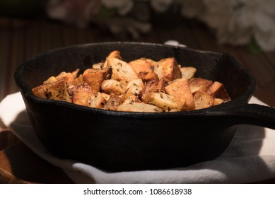Pan fried potato hashbrowns in cast iron skillet
