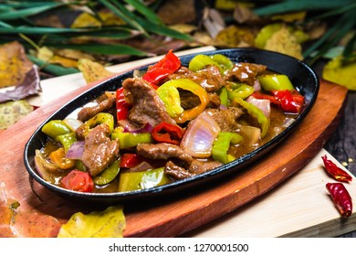 Pan fried sizzling beef