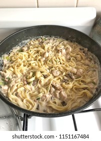 Pan full of homemade chicken and bacon Cabonara with pasta