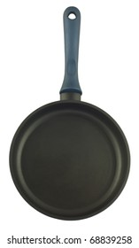 Pan with handle, top view, isolated on white background