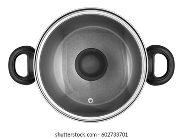 Pan with lid isolated on white background. View from above
