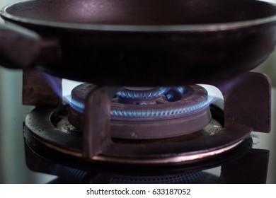 Pan on the gas stove