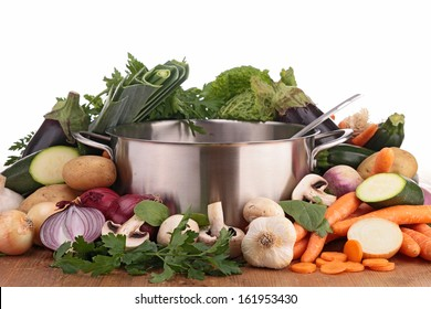 pan with raw vegetables