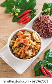 Panaeng Curry with pork and berry rice - Thai traditional food style