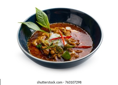 Panaeng curry with pork isolated on white background.