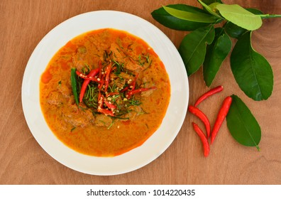 Panaeng Curry with Pork in wooden plate (Delicious and famous Thailand food)