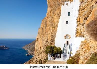 Panagia Hozoviotissa monastery and the ocean on Amorgos island, Greece, Europe
