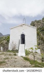 Panagia Kremniotissa church on high cliffs, Samothraki island, thrace, Greece