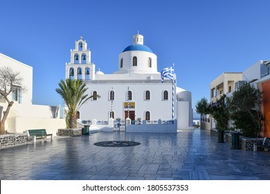 Panagia Platsani greek orthodox church in Oia, Santorini (sign says Holy church of the father)