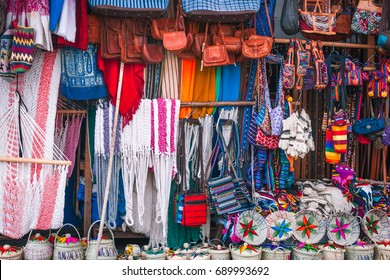 Panajachel, Guatemala - March 1, 2016: Market stall at the small village of Panajachel on the shore of Lake Atitlan in Guatemala, Central America.