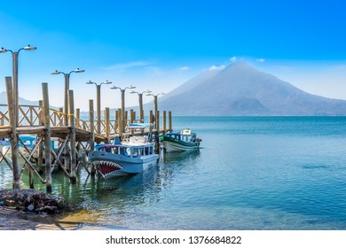 PANAJACHEL,GUATEMALA - MARCH 5,2019 - Boats at the Atitlan lake. Atitlan lake is a lake in the Guatemalan Highlands.