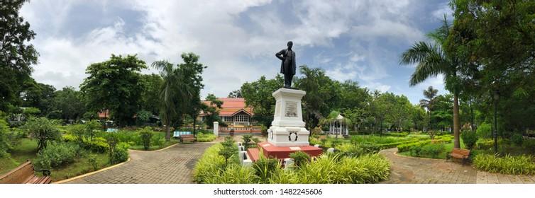 Panaji, Goa, India - July 30, 2019: A century-old Portuguese-built statue of Francisco Luis Gomes, a brilliant scholar and economist, in a public park in Panaji, the capital city of Goa, India.