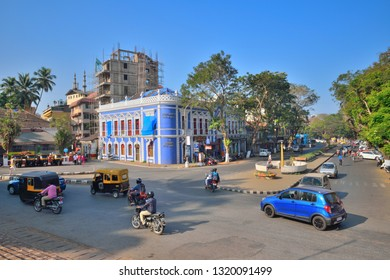 Panaji, India - January 23, 2019: Large number of vehicles moving down the road.