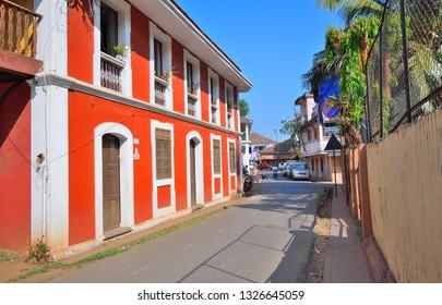 Panaji, India - January 23, 2019: Colorful portuguese houses in Panjim, Goa.