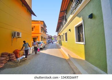 Panaji, India - January 23, 2019: Old heritage portuguese houses in Panaji, Goa.