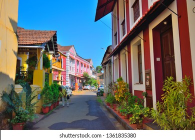 Panaji, India - January 23, 2019: A narrow lane surrounded by colorful portuguese houses in Panjim, Goa.