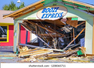 PANAMA BEACH, FL, USA - OCTOBER 18, 2018: Business Booze Express destroyed after Hurricane Michael aftermath photo