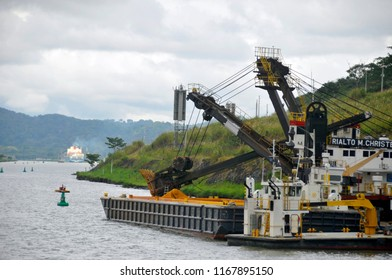 PANAMA CANAL 11 07 2012: Large floating crane currently serving in the Panama Canal Zone performing heavy lifts for lock maintenance.