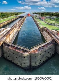 Panama Canal with blue sky