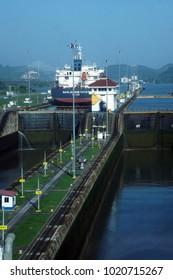 PANAMA CANAL - DEC 16, 2017 - Large freighter passing thru Miraflores lock, Panama Canal