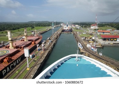 PANAMA CANAL - DEC 16, 2017 - Bow of cruise ship as it moves with other ships through the San Miguel lock, Panama Canal