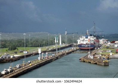 PANAMA CANAL - DEC 16, 2017 - Large ships move through the San Miguel lock, Panama Canal