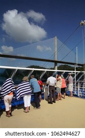 PANAMA CANAL - DEC 16, 2017 - Cruise ship passengers photographing the cantilevered Centennial Bridge  across the Panama Canal