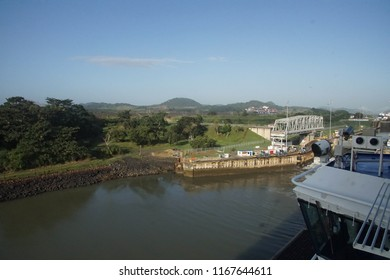 PANAMA CANAL - DEC 16, 2017 - Giant locks allow huge ships to pass through the Panama Canal