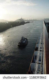 PANAMA CANAL - DEC 16, 2017 - Heavy duty tugboat in the Panama Canal