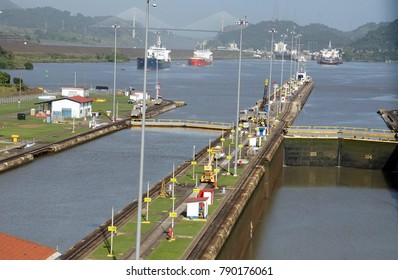 PANAMA CANAL - DEC 16, 2017 - Tankers and freighter waiting to move west through the Miraflores lock, Panama Canal