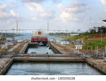 Panama Canal, Panama, January 30, 2019. The gate is locking after large ship went though