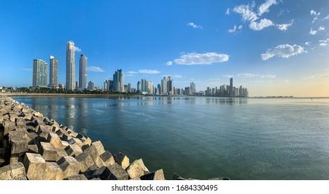 Panama, Central America / 01-13-2020 /Panama City skyline at Cinta Costera area as seen from the coastal trail near the Casco Viejo/Old quarter.