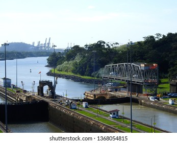 Panama City / Panama / 11. 09. 2018: The second lock of the Panama canal from the Pacific ocean