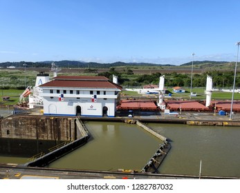 Panama City / Panama / 11. 09. 2019: The second lock of the Panama canal from the Pacific ocean.