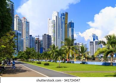 PANAMA CITY, PANAMA,  20 10 2015. Skyscrapers in Panama City, skyline on a background. The metro population of  around 1,440,000