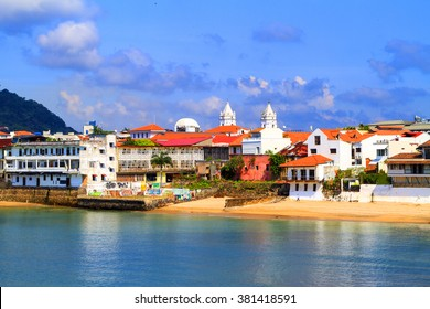 PANAMA CITY, PANAMA, 21 10 2015. Old buildings in the old part of Panama City, The city of Panama was founded on August 15, 1519 by Spanish conquistador.  The metro population of around 1,440,000