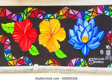 PANAMA CITY 24-10-2015 PANAMA: Street art by unidentified artist. The well placed art tolerated by the city and well blend in the Old Town. The city is also the political and administrative center.