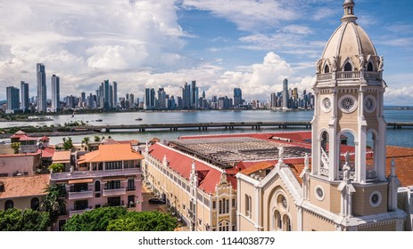 Panama City Aerial skyscrapers drone
