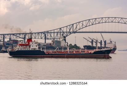 PANAMA CITY, PANAMA - AUGUST 15, 2009: Ship on  Panama Canal at Port of Balboa.