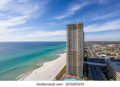 panama city beach, fl. usa, 1/6/18 Tidewater beach resort building and surrounding area