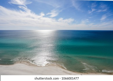 panama city beach ocean and sky from balcony blue green water