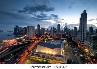 Panama City, city center skyline and Bay of Panama, Panama, Central America