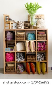 Panama city / Panama / Central America - 11/05/2019 /Bookshelf full of cushions and bags in a modern gift shop