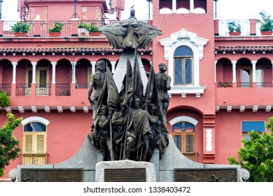 PANAMA, PANAMA CITY - FEB 25, 2018: Plaza Bolivar in Casco Viejo is dedicated to Simon Bolivar, the South American hero who led revolutions against the Spanish empire.