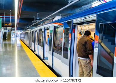 PANAMA CITY, PANAMA - FEB 27: Panama Metro a metropolitan transport system that was inaugurated on Apr 5, 2014. Consists of one 8.5 mile line serving 12 stations in Panama City on Feb 27, 2018