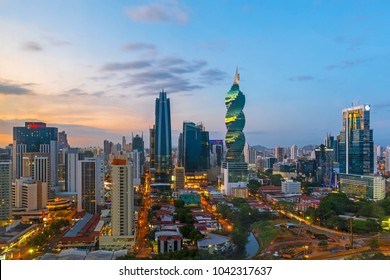 PANAMA CITY, PANAMA - FEBRUARY 17, 2018: The skyline of Panama City with its skyscrapers in the financial district at sunset.